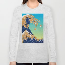 Shiba Inu in Great Wave Long Sleeve T-shirt