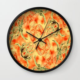 Yellow and Orange Floral Pattern Wall Clock
