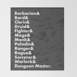 Dungeons and Dragons - Classes Throw Blanket