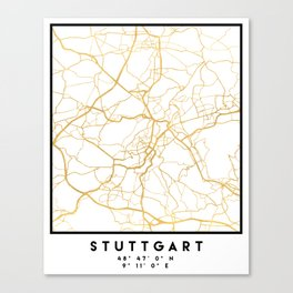STUTTGART GERMANY CITY STREET MAP ART Canvas Print