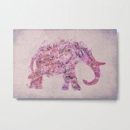 Pink Elephant Mixed Media Art Metal Print