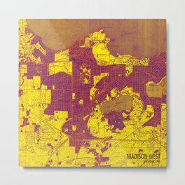 Madison West Wisconsin vintage map year 1959, rustic map, poster map Metal Print