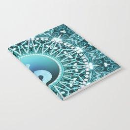 Tranquility Yin Yang Blue Aqua Mandala Notebook