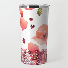 My heart is full of flowers / pomegranate and poppies Travel Mug