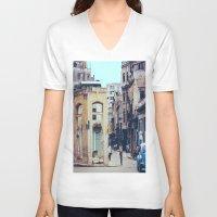 cuba V-neck T-shirts featuring Old Downtown Havana Cuba by Rafael Salazar