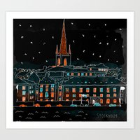 stockholm Art Prints featuring Stockholm by Wakkala