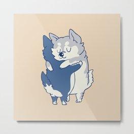 Husky Hugs Metal Print