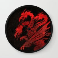 mother of dragons Wall Clocks featuring Dragons by Narwen