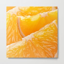 Juicy Orange Slices Fruit Collage Metal Print