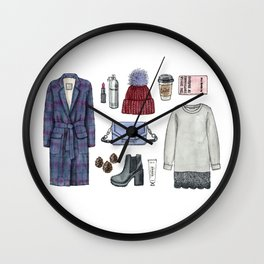 fashion. winter outfit Wall Clock