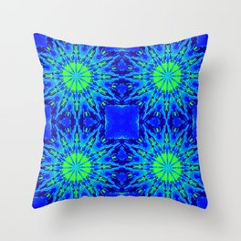 Green & Blue Starburst Series Throw Pillow