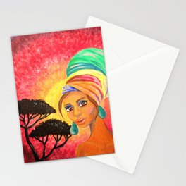 African Turban Girl Painting Stationery Cards