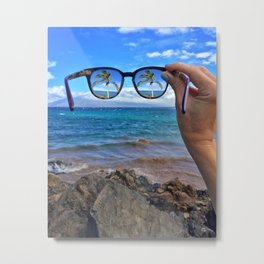 Hawaii Sunglasses Palmtrees Metal Print