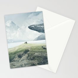 Marvelous Fairytale Giant Humpback Whale And Small Child Dreamy Seashore UHD Stationery Cards