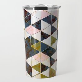 Marble Triangle Tiles in Green Gold  Travel Mug
