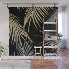 Gold Gray Palm Leaves Dream #1 #tropical #decor #art #society6 Wall Mural