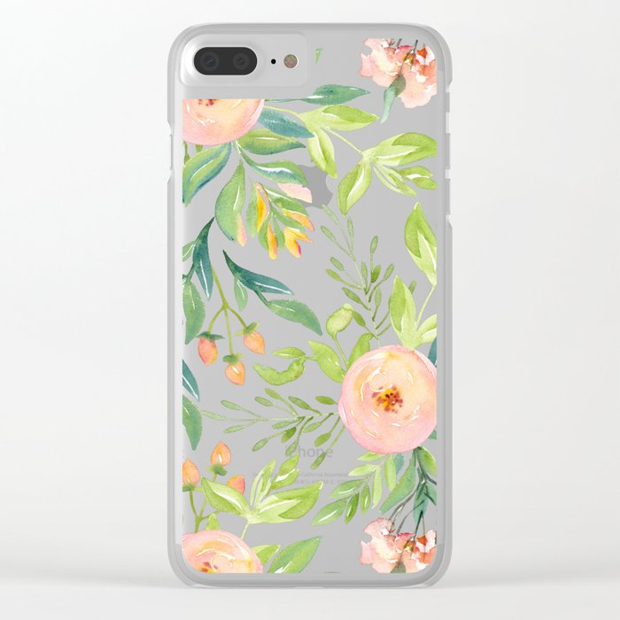 Happy Coral Pink + Green Rose Garden Clear iPhone Case