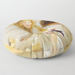 Paul Emile Chabas - Two Young Girls And Starfish - Paul Emile Chabas Floor Pillow