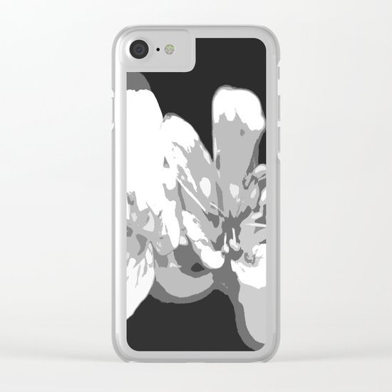 Retro Flowers in Black and White Clear iPhone Case