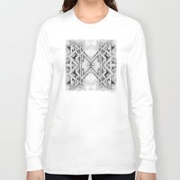 gray pattern Long Sleeve T-shirts featuring Emerge - Gray/Black Pattern by MB4 Studio / Melissa Breitenfeldt