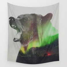 Bear In The Aurora Borealis Wall Tapestry