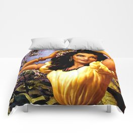 Mexican Beauty with Purple Flower by Jesus Helguera Comforters