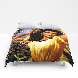 Mexican Beauty with Purple Flower by Jesus Helguera Comforters
