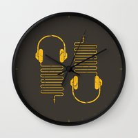 deadmau5 Wall Clocks featuring Gold Headphones by Sitchko Igor
