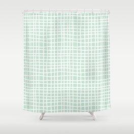 edgewater mint random cross hatch lines checker pattern Shower Curtain