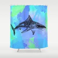 shark Shower Curtains featuring Shark by Riaora Creations