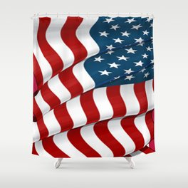 WAVY AMERICAN FLAG JULY 4TH ART Shower Curtain