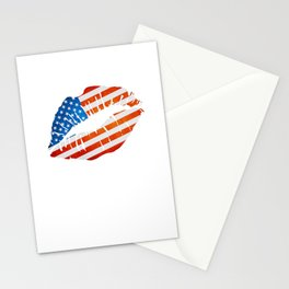 American Flag Lips Stationery Cards