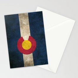 Old and Worn Distressed Vintage Flag of Colorado Stationery Cards
