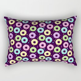 delicious donuts with multi-colored icing on a dark background. cartoon donuts Rectangular Pillow