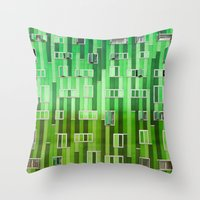 green pattern Throw Pillows featuring Green Pattern by Maria Eugenia Espino