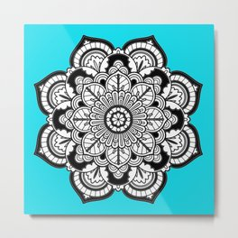 Black and White Flower in Blue Metal Print