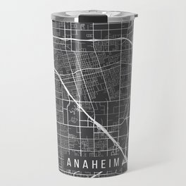 Anaheim Map, California USA - Charcoal Portrait Travel Mug