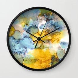 Alcohol Ink 'Fools Gold' Wall Clock