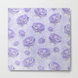 Watercolour purple peonies flowery pattern Metal Print
