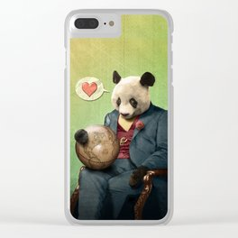 Wise Panda: Love Makes the World Go Around! Clear iPhone Case