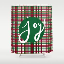 Holiday Plaid Joy - Green Shower Curtain