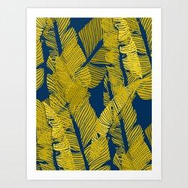 Carved Yellow&Blue Jungle #society6 #decor #buyart Art Print
