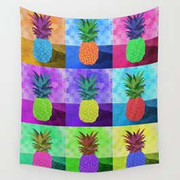 multi-colored pineapples Wall Tapestry