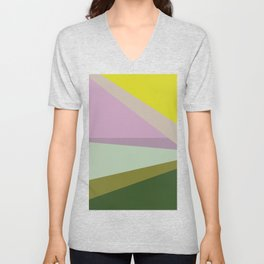 Geometric Shapes #8 Purple and Green Unisex V-Neck