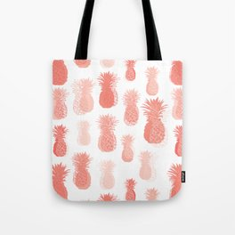 Pineapple partytime in living coral Tote Bag