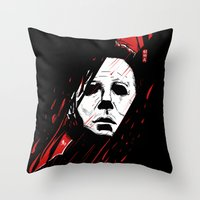 michael myers Throw Pillows featuring Hell-O-Ween Myers knife by Akyanyme