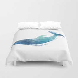 Watercolor playing Dolphin Duvet Cover