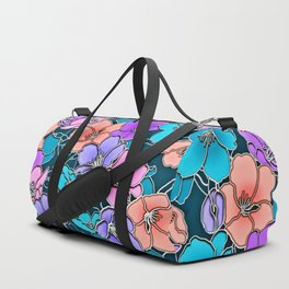 Modern abstract teal coral pink navy blue floral Duffle Bag