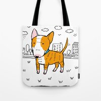 bull terrier Tote Bags featuring bull terrier by Ellizavetta