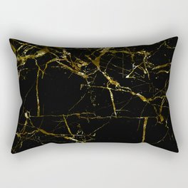 Golden Marble - Black and gold marble pattern, textured design Rectangular Pillow